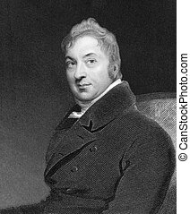 Edward Jenner (1749-1823) on engraving from 1844. The Father...