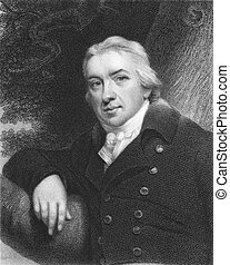 Edward Jenner (1749-1823) on engraving from the 1800s. The...