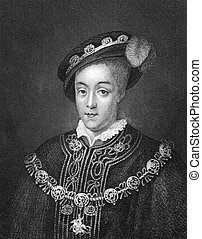 Edward VI of England (1537-1553) on engraving from 1830....