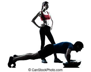 edző, bosu, gyakorlás, nő, abdominals, ember