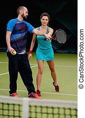 edző, gyakorló, neki, teniszjátékos, nő, bíróság