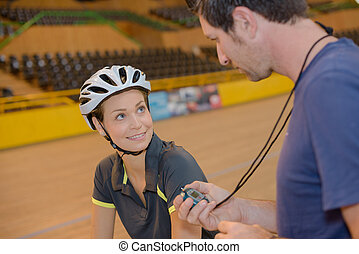 edző, időmérés, biciklista, velodrome