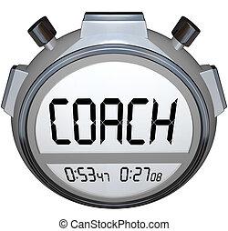 edző, siker, szakértelem, időzítő, kiképez, stopperóra, befejezés