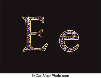 Ee Amethyst Jeweled Font with Gold - Ee in stunning amethyst...