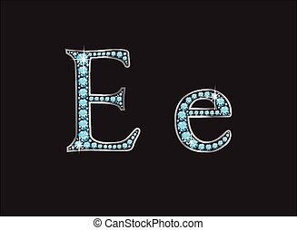 Ee Aquamarine Jeweled Font Jeweled - Ee in stunning...