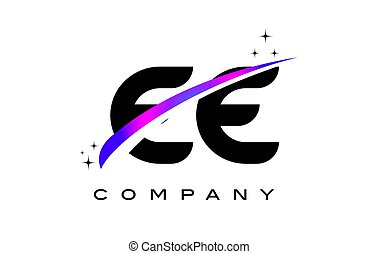 EE E E Black Letter Logo Design with Purple Magenta Swoosh...