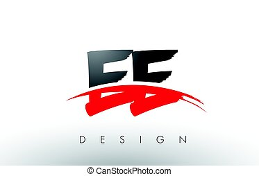 EE E E Brush Logo Letters with Red and Black Swoosh Brush...