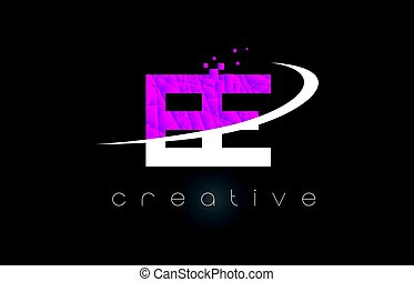 EE E E Creative Letters Design With White Pink Colors - EE E...