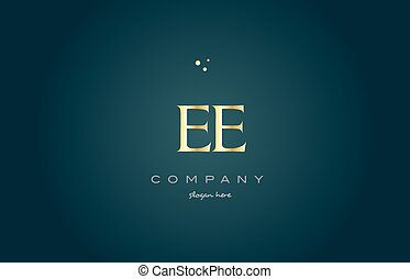 ee e e gold golden luxury alphabet letter logo icon template...