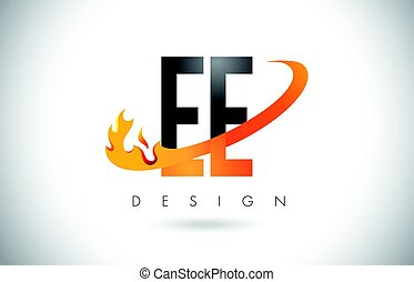 EE E E Letter Logo with Fire Flames Design and Orange...