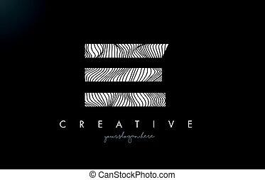 EE E E Letter Logo with Zebra Lines Texture Design Vector. -...