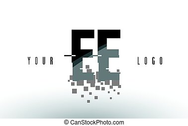EE E E Pixel Letter Logo with Digital Shattered Black...