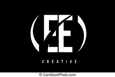 EE E E White Letter Logo Design with Black Background. - EE...