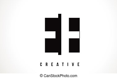EE E E White Letter Logo Design with Black Square. - EE E E...