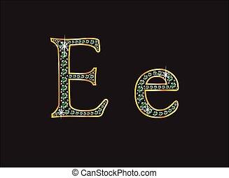 Ee in Emerald Jeweled Font - Ee in stunning emerald precious...