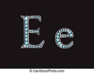 ee, ingioiellato, acquamarina, font