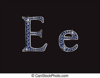 ee, ingioiellato, font, zaffiro