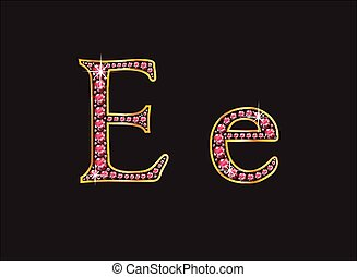 Ee Ruby Jewel Font, Gold Channel - Ee in stunning ruby...