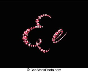 Ee Ruby Script Jeweled Font - Ee in stunning Ruby Script...