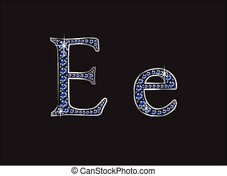 Ee Sapphire Jeweled Font - Ee in stunning blue sapphire...