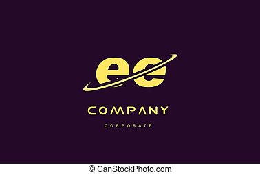 ee small alphabet yellow letter logo vector icon design - ee...