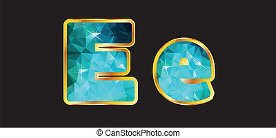 Ee with Gold and Teal - Ee in this series of letters made...