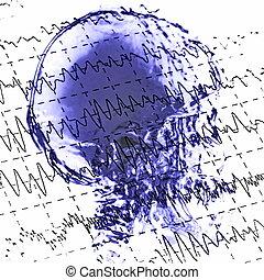 eeg, brainwaves, そして, x 線, 頭骨