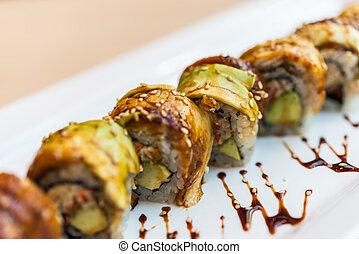 Eel fish sushi roll