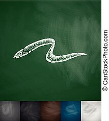 eel icon. Hand drawn vector illustration. Chalkboard Design