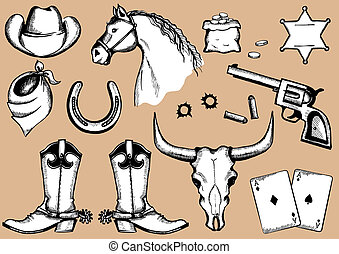 Eelements for cowboy life.Vector silhouettes