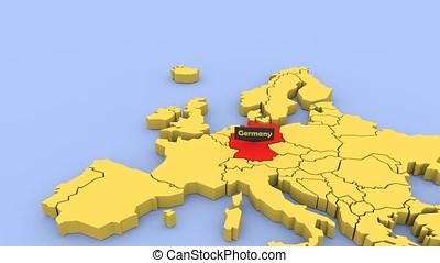 een, 3d, gereproduceerd, kaart, van, europa, geconcentreerde, op, duitsland