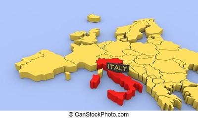 een, 3d, gereproduceerd, kaart, van, europa, geconcentreerde, op, italy.