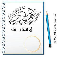 een, aantekenboekje, met, een tekening, van, een, autosport