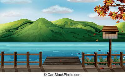 een, aanzicht, van, de, zee, en, de, hoge bergen