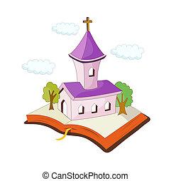 een, aanzicht, van, kerk