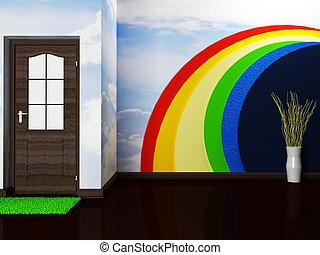 een, aardig, kamer, met, de, deur