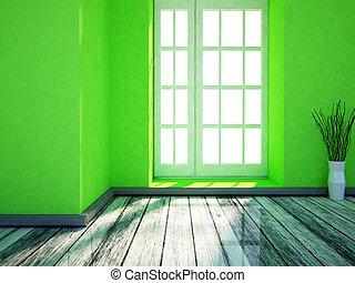 een, aardig, kamer, met, de, groot, venster