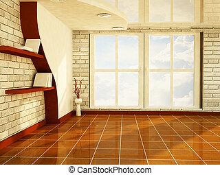 een, aardig, kamer, met, een, groot, venster