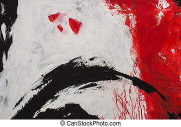 een, abstract, expressionistic, acrylic schilderstuk, in, rood, en, whites