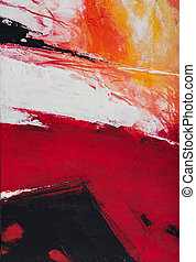 een, abstract, expressionistic, acrylic schilderstuk, in, rood