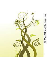 een, abstract, floral, vector, achtergrond