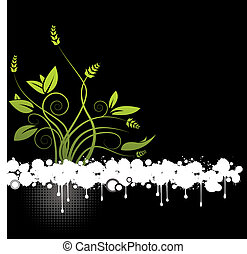 een, abstract, floral, vector