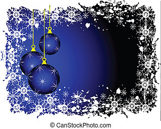 een, abstract, kerstmis, vector, illustratie, met, blauwe , baubles