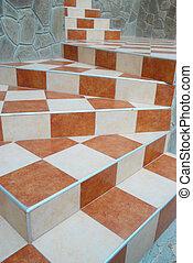 een, abstract, trap, met, keramisch, tiles.