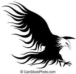 een, adelaar, met, vleugels, open