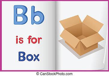 een, afbeelding, van, een, doosje, in, een, boek
