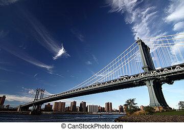een, afbeelding, van, een, new york, brug