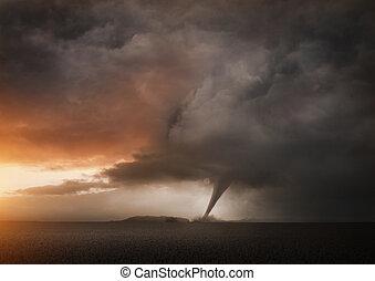 een, afgelegen, tornado