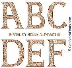 een, alfabet, paisley, henna