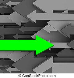 een, anders, richtingwijzer, tegenoverstaand, richting, van, groep